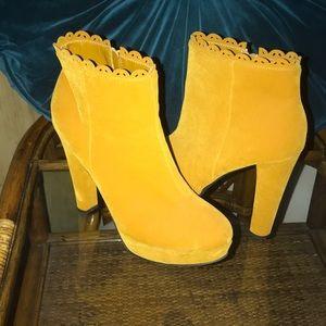 Mustard platform booties